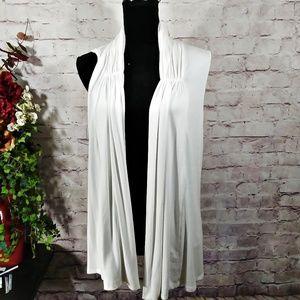 NEW! AUGUST SILK Sleeveless Long White Cardigan
